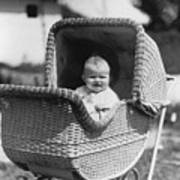 Happy Baby In Wicker Buggy Fall 1925 Black White Art Print