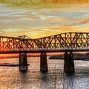 Harahan Bridge In Memphis,tennessee At Sunset Art Print