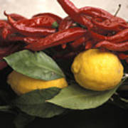 Lemons And Dried Red Peppers  For Sale Art Print