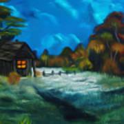 Little Pig's Barn In The Moonlight Dreamy Mirage Art Print