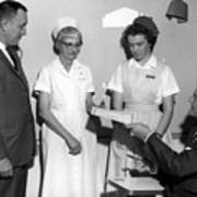 Man Male Handing Award Nurse February 1964 Black Art Print