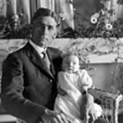 Man Male Holding Baby 1910s Black White Archive Art Print