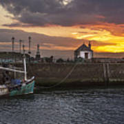 Maryport Harbour At Sunset Art Print