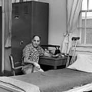 Patient Sitting Desk In Hospital Room Circa 1960 Art Print