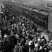 People Greeting Troop Train 19171918 Black White Art Print