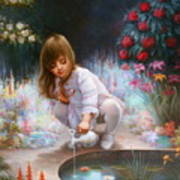 Pond And Girl Art Print