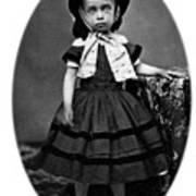 Portrait Headshot Girl In Bonnet 1880s Black Art Print