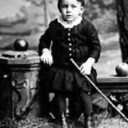 Portrait Headshot Toddler Walking Stick 1880s Art Print