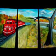 Red Train Passage Dreamy Mirage Art Print