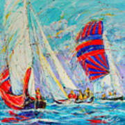 Sail Of Amsterdam II - Tree Sailboats  Art Print