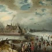 Skating On The Frozen Amstel River  Art Print