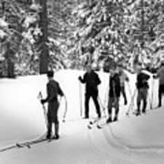 Skiers January 19 1967 Black White 1960s Archive Art Print