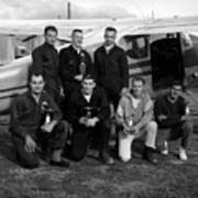 Skydiving Team Posing Airplane Circa 1960 Black Art Print