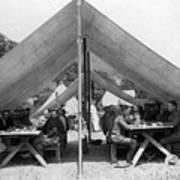 Soldiers Eating In Mess Tent 19061909 Black Art Print
