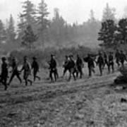 Soldiers Maneuvers Circa 1908 Black White 1900s Art Print