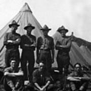 Soldiers Posing In Front Tents 19171918 Black Art Print