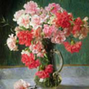 Still Life Of Carnations   Art Print
