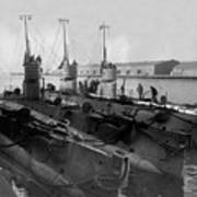 Submarines In Harbor Circa 1918 Black White Art Print