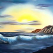 Sunset Beach Pastel Splash Dreamy Mirage Art Print