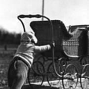 Toddler Pushing Baby Buggy 1926 Black White Boy Art Print