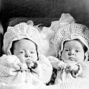 Twins In Baby Buggy 1910s Black White Archive Art Print