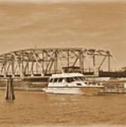 Vintage Swing Bridge In Sepia 2 Art Print