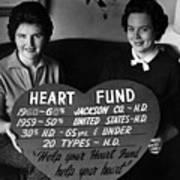 Women Females Heart Fund Sign 19591960 Black Art Print