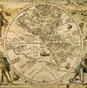 W. Hemisphere Map, 1596 Art Print