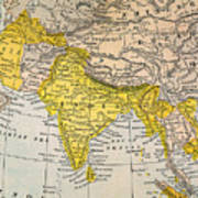 Asia Map, 19th Century Art Print
