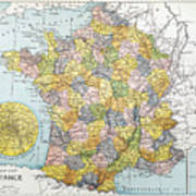 Map Of France, C1900 Art Print