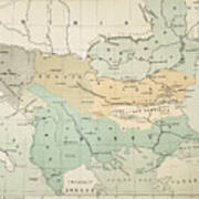 Balkan Map, 1885 Art Print