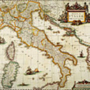 Map Of Italy, 1631 Art Print