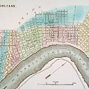 New Orleans Map, 1837 Art Print