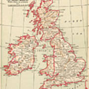 Map: British Isles, C1890 Art Print