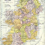 Map: Ireland, C1890 Art Print