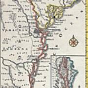 Map: North America, C1700 Art Print