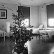 Christmas Tree In Hospital Ward 1923 Black White Art Print