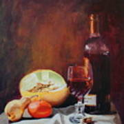 Still Life With Wine Art Print by Rose Sciberras