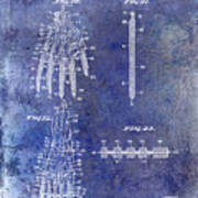 1911 Mechanical Skeleton Patent Blue Art Print