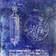 1913 Pocket Watch Patent Blue Art Print