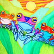 3 Little Frogs Art Print