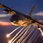 A C-130 Hercules Releases Flares Art Print