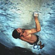 A Caucasian Man Rock Climbing Print by Bobby Model