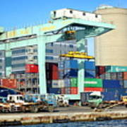 A Container Is Loaded In Kaohsiung Port Art Print