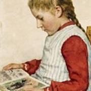 A Girl Looking At A Book Art Print