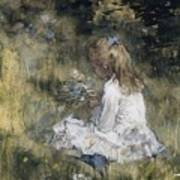 A Girl With Flowers On The Grass Art Print