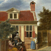 A Group At The Site Behind A House Art Print