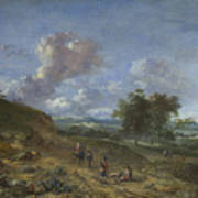 A Landscape With A High Dune And Peasants On A Road Art Print