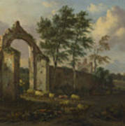 A Landscape With A Ruined Archway Art Print