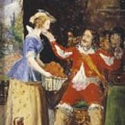 A Maid Offering A Basket Of Fruit To A Cavalier Art Print